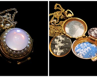 Rose of Sharon Vintage Coro 4 Picture Locket Necklace