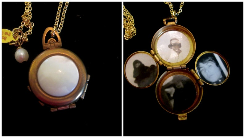 Vintage 4 Picture Locket Necklace Mother of Pearl Cabochon image 0