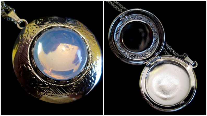 The Silver Moon Double Locket Necklace Swarovski Moon Glow image 0