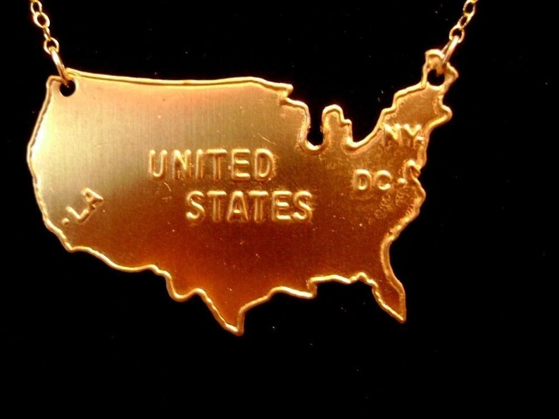 US Map Necklace in Gold brass United States of America la image 0