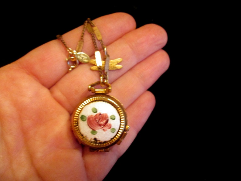 Pink Green Vintage 4 Picture Locket Necklace Gold Filled Goodbye Dragonfly Roses Enamel Guilloche