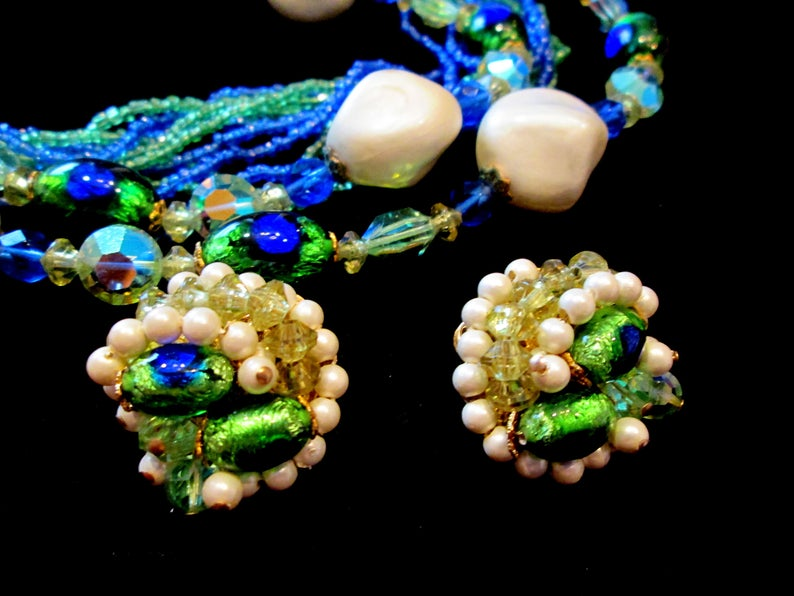 Vintage Peacock Bridal Set Clip on Earrings White Necklace Pearls Green Blue