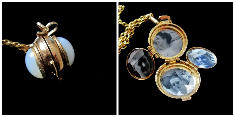 Beneath the Moonglow Vintage 4 Picture Locket Necklace Opal image 0