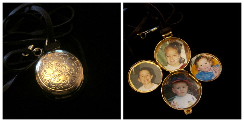 Vintage 4 Picture AVON Locket Necklace Love in Four Chambers image 0