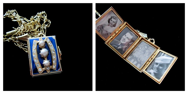 Vintage Blue Coro 4 Picture Locket Rhinestones and Pearls image 0