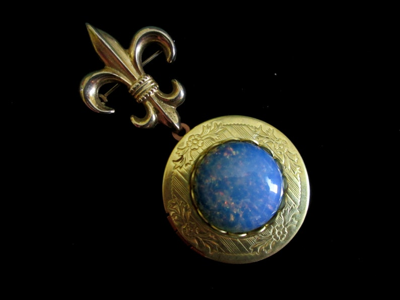 My Something Blue Vintage Harlequin Opal Bridal Bouquet image 0