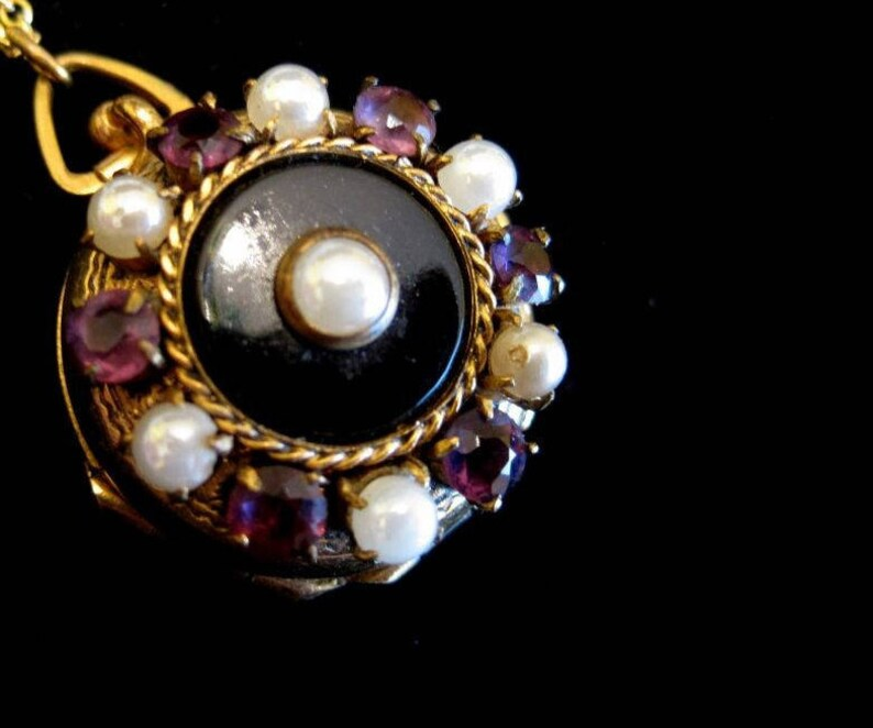 Amethyst and Pearls 4 Picture Locket Necklace White Black Onyx Gold Filled Purple Family Memories