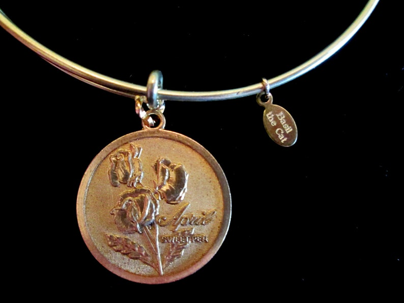 Flower of the Month Wire Bangle Bracelet January February image 0