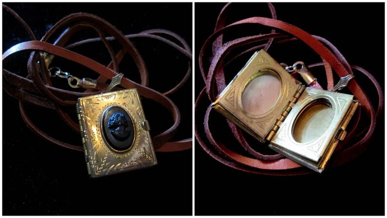 Vintage Cameo 6 Picture Locket Necklace Brown Deerskin Cord image 0