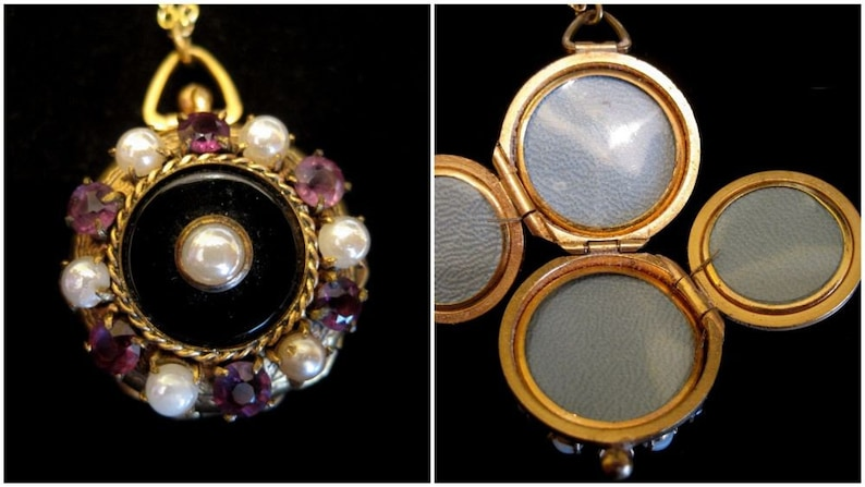 Amethyst and Pearls 4 Picture Locket Necklace Black Onyx image 0
