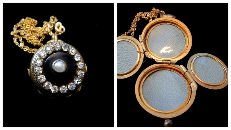 Vintage Black Tie 4 Picture Locket Necklace Onyx Pearl image 0