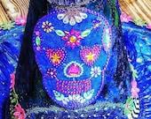 Bluemoose ART Costume Witch Hat Blue Calaveras