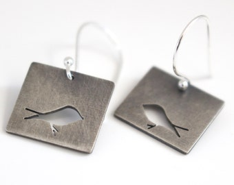 Sterling Silver Bird Art hand pierced cutout square earrings - made to order