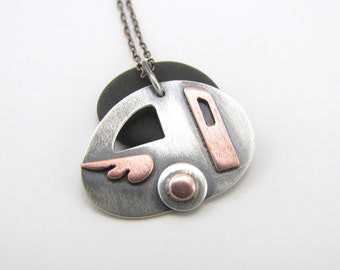 Vagabond sterling silver and copper vintage travel trailer pendant - made to order