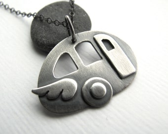 Road Warrior sterling silver vintage travel trailer pendant - made to order - glamping, camper, tin can road warrior