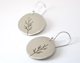Autumn Moon Saplings sterling silver tree art earrings - made to order
