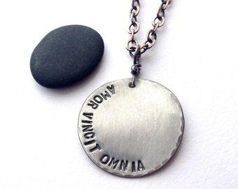 Amor Vincit Omnia heavy gauge sterling silver pendant - made to order