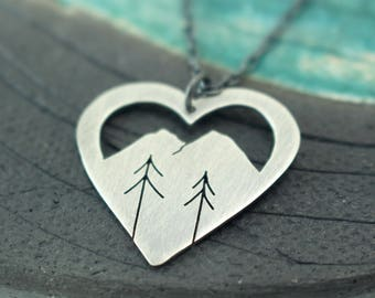 Mountain Silhouette + Two  Pine Trees sterling silver heart shaped pendant