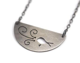 Bird Song Bird Art sterling silver half moon pendant - made to order