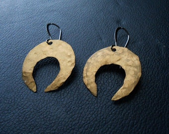 haxan - witchy earrings - hand cut hammered brass crescent moon earrings - witchy strega goth coven jewelry