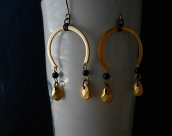 vigilance - matte gold and black chandelier earrings - occult art deco inspired vintage repurposed jewelry