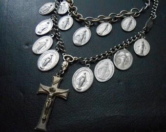 absolved ii- virgin mary catholic statement necklace - mixed media antique tribal catholic found object jewelry