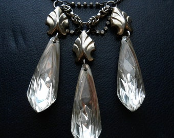 nepenthe - vintage art deco silver crystal assemblage necklace - occult inspired found object jewelry