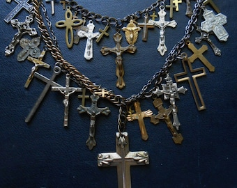 thy will be done -antique cross crucifix statement necklace -mixed media antique religious catholic goth found object jewelry