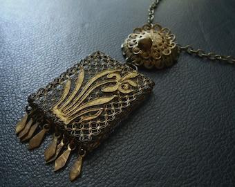 rhapsode - antique repurposed victorian vinaigrette filigree locket boho fringe necklace
