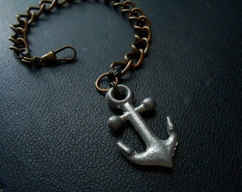ancient mariner - edgy handmade anchor charm bracelet - unisex jewelry for men and women