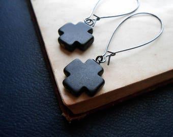 the mission - black cross earring minimal earrings simple goth earrings kidney wire earring gothic earrings