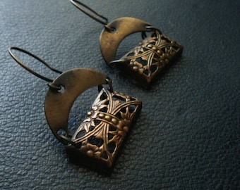 atonement - floral oxidized filigree copper and brass earrings - art deco assemblage jewelry