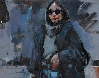 Original Clothed Figure Painting Acrylic Sketch - 12x9 Figure Sketch by David Lloyd