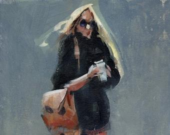 Original Clothed Figure Painting Acrylic Fine Art - 12x9 by David Lloyd
