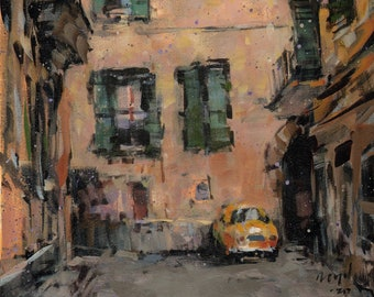 Art Print Italy Urban 9x12 on 11x14 - Vicolo by David Lloyd