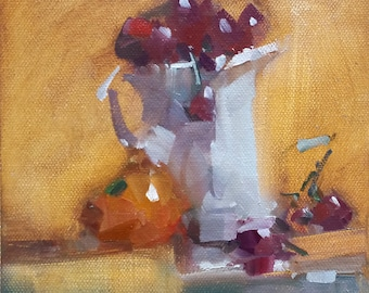 Original Oil Painting Quick Thought Still Life - 6x6 by David Lloyd Smith
