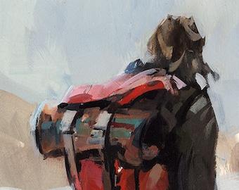 Art Print Figure Hiking Camping Backpacking Travel - Searching by David Lloyd