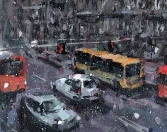 Original Landscape Cityscape Painting Snow City Modern Winter - 9x12 by David Lloyd Smith