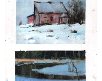 Original Sketchbook Page Landscape Painting Mountain Barn Rural Snow River - 14x11 by David Lloyd Smith