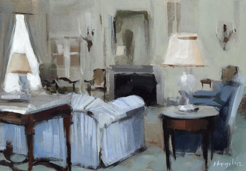 Art Print Living Room Interior Blue Blue Striped Sofa by | Etsy