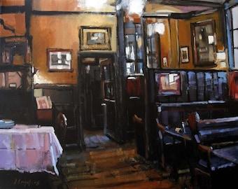 Art Print Pub English Drink Dining Orange 9x12 on 11x14 - The Pub by David Lloyd