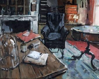 Art Print Interior Study Bell Jar 9x12 on 11x14 - Study with Bell Jar by David Lloyd
