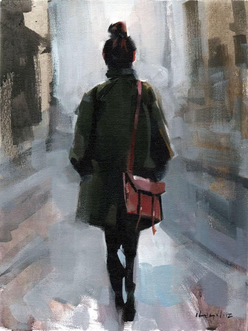 Art Print Figure Woman Fashion Green Coat Urban City 9x12 on image 0