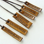 Personalized Wine Glass Charms Leather Hostess Gift Wine Varieties