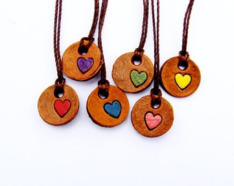 Wine Charms Colorful Hearts Leather Hostess Gift
