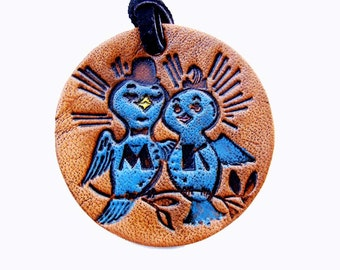 Personalized Keychain or Luggage Tag Leather Love Birds in Blue