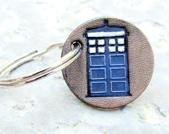 Personalized Keychain Doctor Who Small Leather