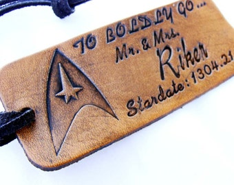 Personalized Luggage Tag To Boldly Go Leather Star Trek
