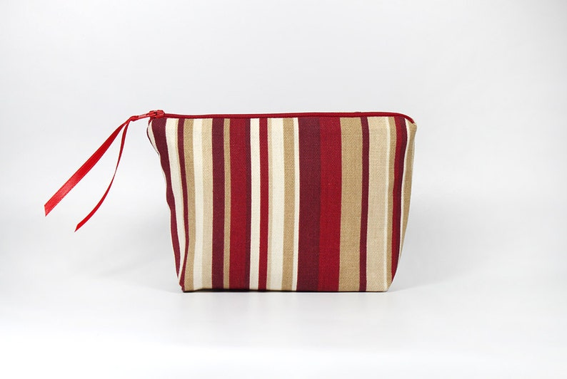 Red Stripe Zipper Pouch image 0