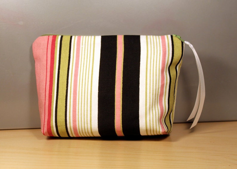Pink and Green Striped Zipper Pouch image 0